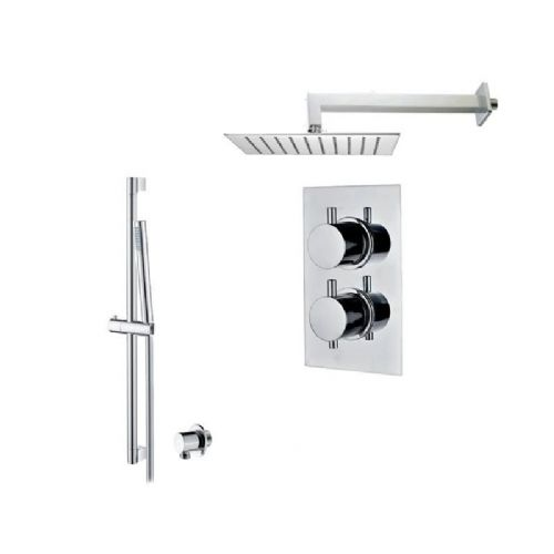 Abacus Essentials Thermostatic Concealed Shower Kit With Square Shower Head - Chrome